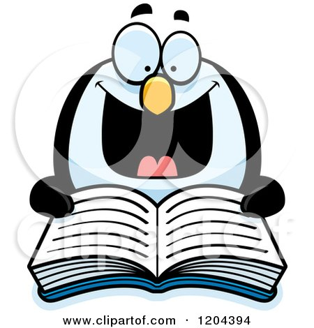 Cartoon of an Excited Penguin Reading a Book - Royalty Free Vector Clipart by Cory Thoman