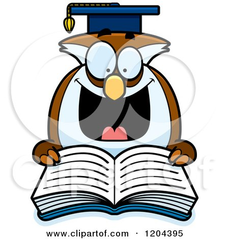 Cartoon of an Excited Professor Owl Reading a Book - Royalty Free Vector Clipart by Cory Thoman