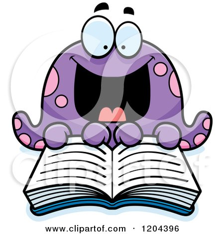 Cartoon of an Excited Octopus Reading a Book - Royalty Free Vector Clipart by Cory Thoman