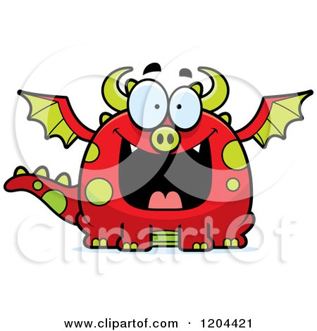 Cartoon of a Happy Grinning Chubby Red Dragon - Royalty Free Vector Clipart by Cory Thoman