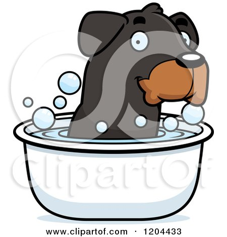 Cartoon of a Cute Rottweiler Puppy Dog Taking Bath - Royalty Free Vector Clipart by Cory Thoman