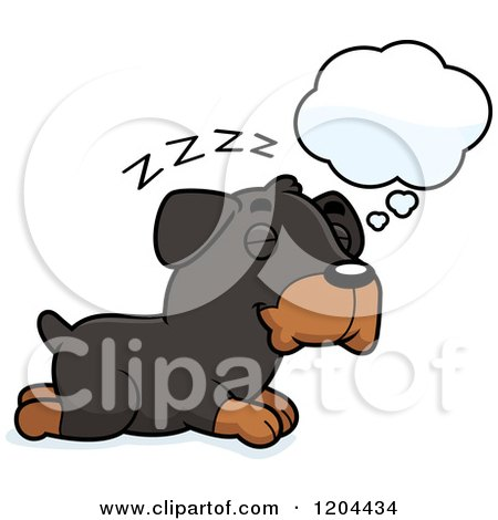 Cartoon of a Cute Rottweiler Puppy Dog Dreaming - Royalty Free Vector Clipart by Cory Thoman