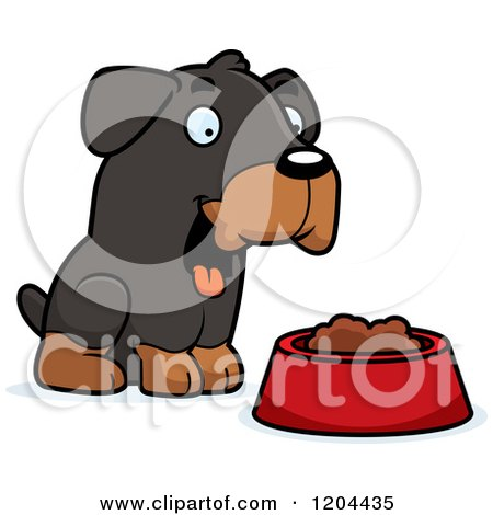 Cartoon of a Cute Rottweiler Puppy Dog with a Food Bowl - Royalty Free Vector Clipart by Cory Thoman