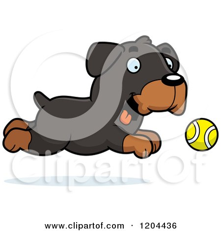 Cartoon of a Cute Rottweiler Puppy Dog Chasing a Ball - Royalty Free Vector Clipart by Cory Thoman