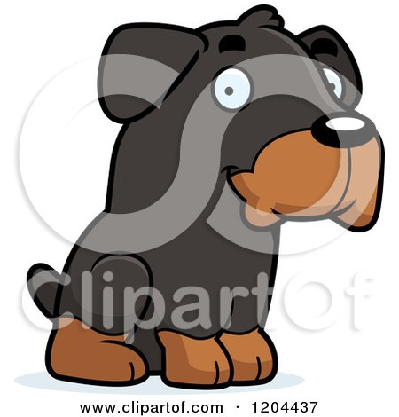 Cartoon of a Cute Rottweiler Puppy Dog Sitting - Royalty Free Vector Clipart by Cory Thoman