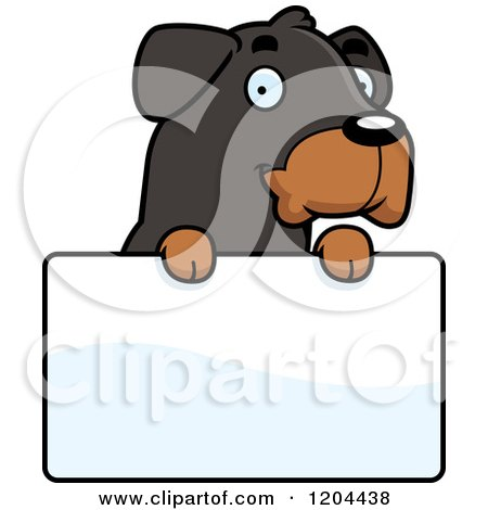 Cartoon of a Cute Rottweiler Puppy Dog over a Sign - Royalty Free Vector Clipart by Cory Thoman