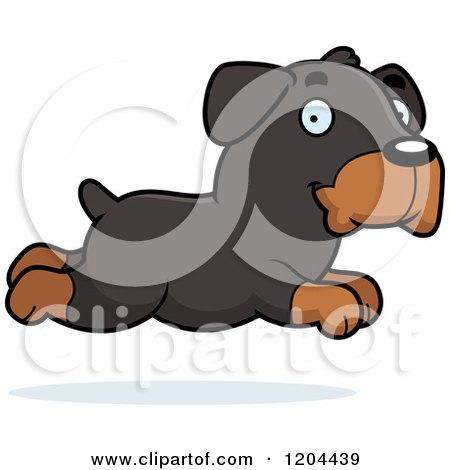 Cartoon of a Cute Rottweiler Puppy Dog Running - Royalty Free Vector Clipart by Cory Thoman