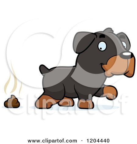 Cartoon of a Cute Rottweiler Puppy Dog Pooping - Royalty Free Vector Clipart by Cory Thoman