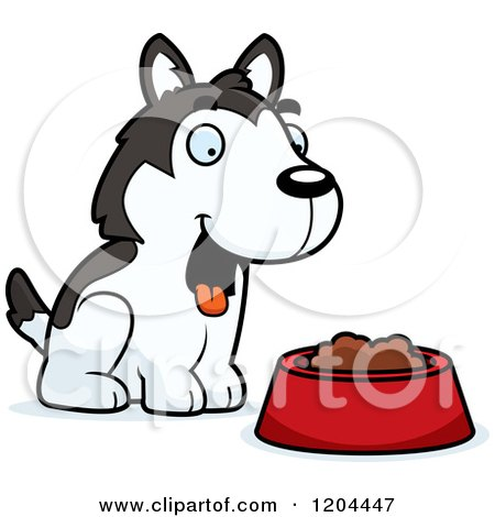 Cartoon of a Cute Husky Puppy Dog with a Food Bowl - Royalty Free Vector Clipart by Cory Thoman