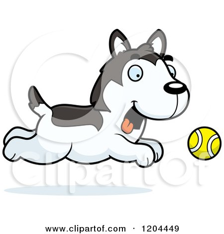 Cartoon of a Cute Husky Puppy Dog Chasing a Ball - Royalty Free Vector Clipart by Cory Thoman