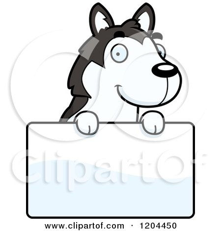 Cartoon of a Cute Husky Puppy Dog over a Sign - Royalty Free Vector Clipart by Cory Thoman