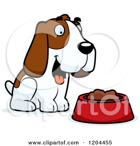 Cartoon of a Cute Hound Dog by a Food Bowl - Royalty Free Vector Clipart by Cory Thoman
