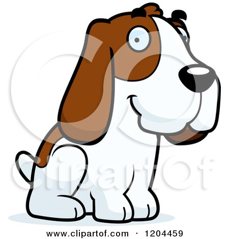 Cartoon of a Cute Hound Dog Sitting - Royalty Free Vector Clipart by Cory Thoman