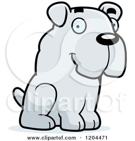 Cartoon of a Cute Bulldog Puppy Dog Sitting - Royalty Free Vector Clipart by Cory Thoman