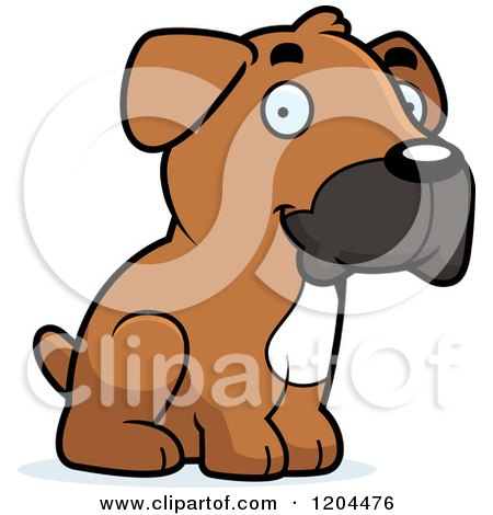 Cartoon of a Cute Boxer Puppy Dog Sitting - Royalty Free Vector Clipart by Cory Thoman