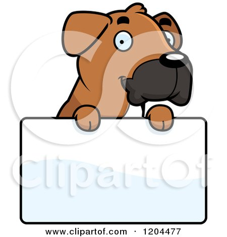 Cartoon of a Cute Boxer Puppy Dog - Royalty Free Vector Clipart by Cory Thoman