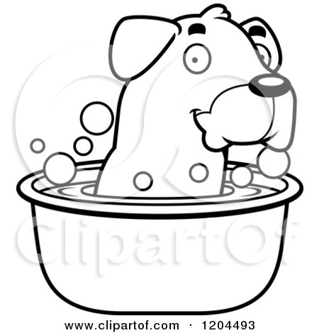Cartoon of a Black And White Cute Rottweiler Puppy Dog Taking Bath - Royalty Free Vector Clipart by Cory Thoman