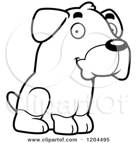 Cartoon of a Black And White Cute Rottweiler Puppy Dog Sitting - Royalty Free Vector Clipart by Cory Thoman