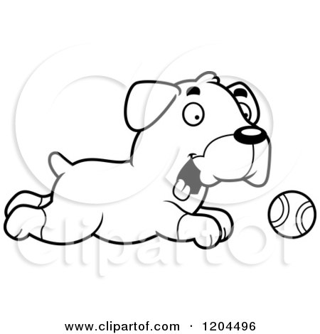 Cartoon of a Black And White Cute Rottweiler Puppy Dog Chasing a Ball - Royalty Free Vector Clipart by Cory Thoman