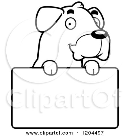 Cartoon of a Black And White Cute Rottweiler Puppy Dog over a Sign - Royalty Free Vector Clipart by Cory Thoman