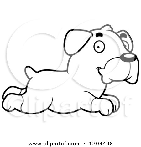 Cartoon of a Black And White Cute Rottweiler Puppy Dog Running - Royalty Free Vector Clipart by Cory Thoman