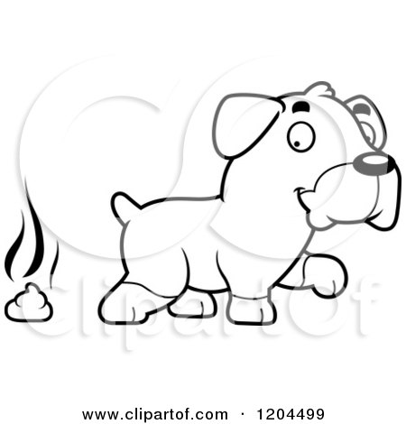 Cartoon of a Black And White Cute Rottweiler Puppy Dog Pooping - Royalty Free Vector Clipart by Cory Thoman