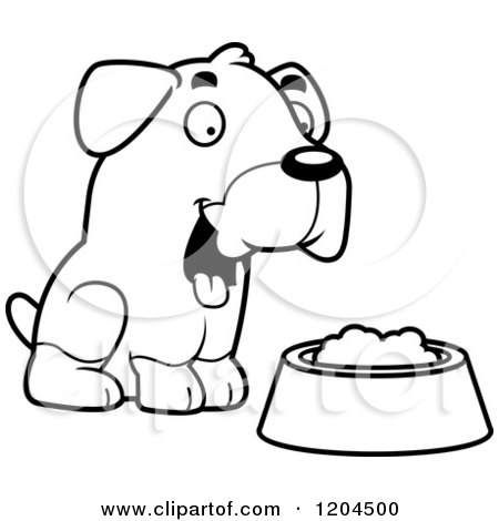 Cartoon of a Black And White Cute Rottweiler Puppy Dog with a Food Bowl - Royalty Free Vector Clipart by Cory Thoman