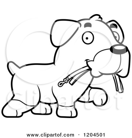 Cartoon of a Black And White Cute Rottweiler Puppy Dog Carrying a Leash - Royalty Free Vector Clipart by Cory Thoman