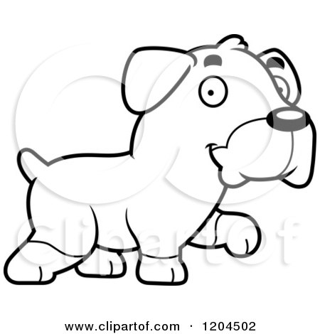 Cartoon of a Black And White Cute Rottweiler Puppy Dog Walking - Royalty Free Vector Clipart by Cory Thoman