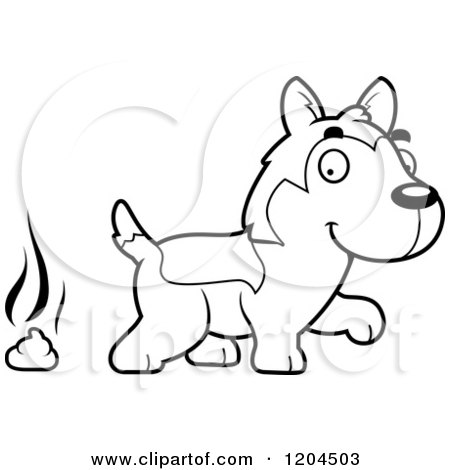 Cartoon of a Black and White Cute Husky Puppy Dog Pooping - Royalty Free Vector Clipart by Cory Thoman