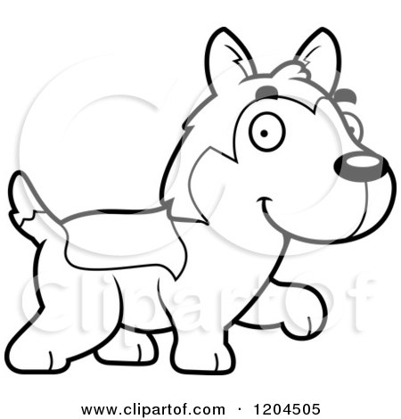 Cartoon of a Black and White Cute Husky Puppy Dog Walking - Royalty Free Vector Clipart by Cory Thoman