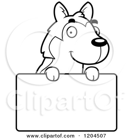 Cartoon of a Black and White Cute Husky Puppy Dog over a Sign - Royalty Free Vector Clipart by Cory Thoman