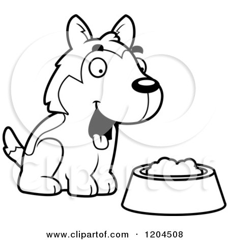 Cartoon of a Black and White Cute Husky Puppy Dog with a Food Bowl - Royalty Free Vector Clipart by Cory Thoman