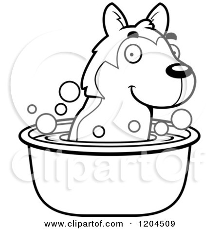 Cartoon of a Black and White Cute Husky Puppy Dog Taking a Bath - Royalty Free Vector Clipart by Cory Thoman