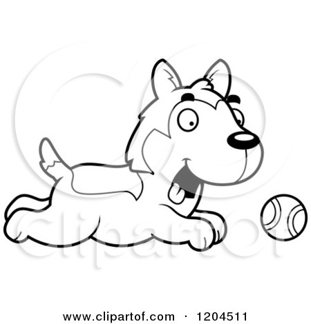 Cartoon of a Black and White Cute Husky Puppy Dog Chasing a Ball - Royalty Free Vector Clipart by Cory Thoman