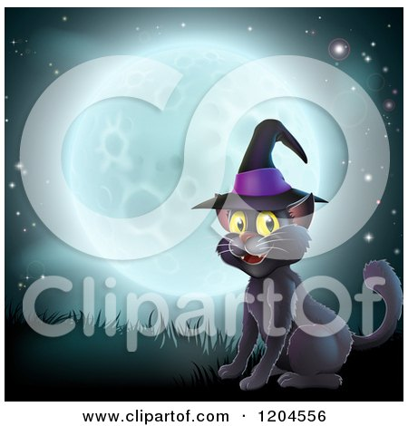 Cartoon of a Happy Black Cat Wearing a Witch Hat and Sitting Against a Full Moon - Royalty Free Vector Clipart by AtStockIllustration