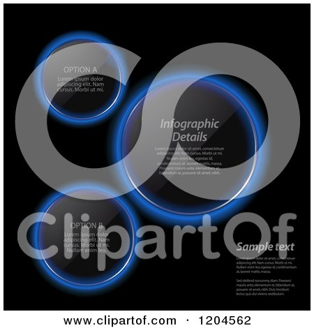 Clipart of Glowing Blue Neon Infographic Lens Circles on Black, with Sample Text - Royalty Free Vector Illustration by elaineitalia