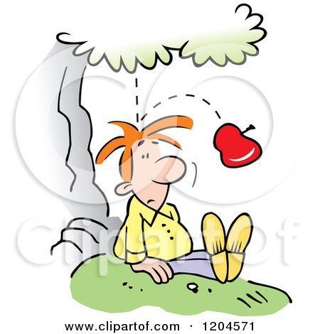 Cartoon of a Gravity Causing an Apple to Fall from a Tree and Bounce off of Sir Isaac Newtons Head - Royalty Free Vector Clipart by Johnny Sajem