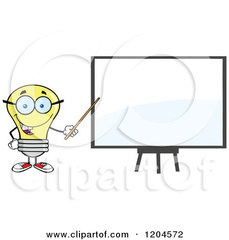 Cartoon of a Happy Yellow Light Bulb Mascot Teacher Pointing to a White Board - Royalty Free Vector Clipart by Hit Toon