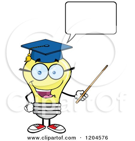 Cartoon of a Happy Yellow Light Bulb Mascot Professor Talking and Using a Pointer Stick - Royalty Free Vector Clipart by Hit Toon