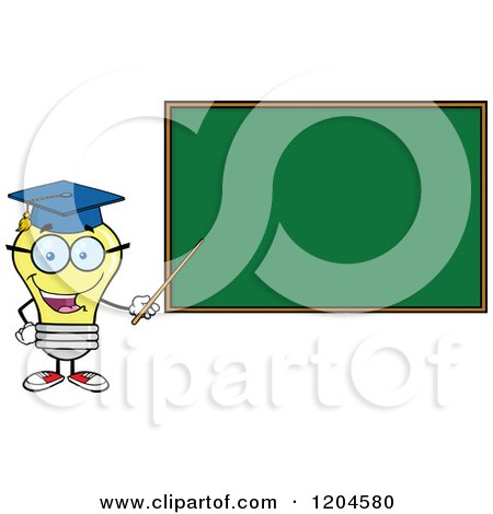 Cartoon of a Happy Yellow Light Bulb Mascot Professor Pointing to a Chalk Board - Royalty Free Vector Clipart by Hit Toon