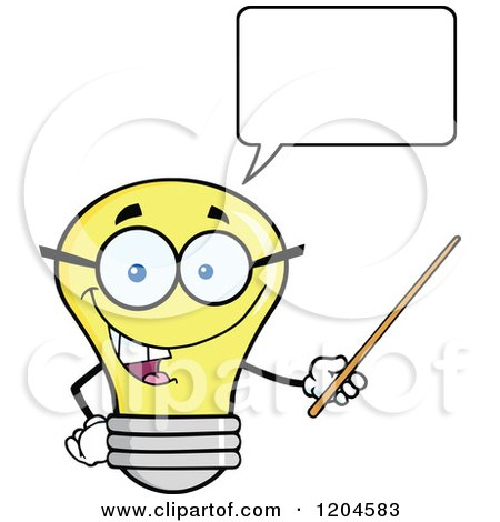 Cartoon of a Happy Talking Yellow Light Bulb Mascot Teacher Using a Pointer Stick 2 - Royalty Free Vector Clipart by Hit Toon