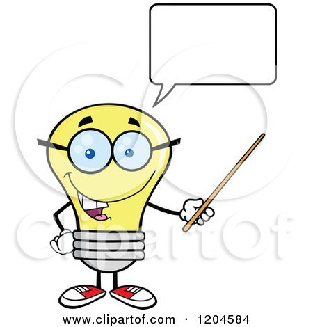 Cartoon of a Happy Talking Yellow Light Bulb Mascot Teacher Using a Pointer Stick - Royalty Free Vector Clipart by Hit Toon