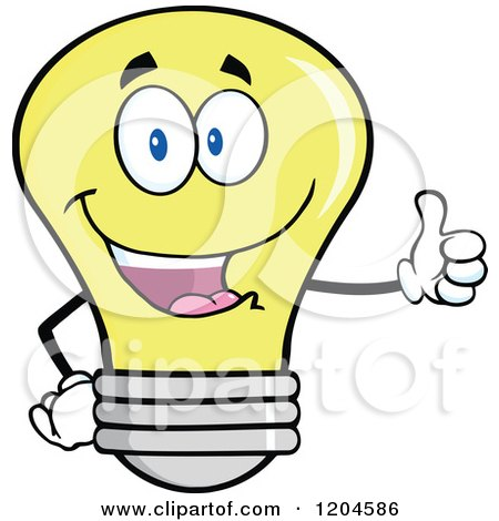 Cartoon of a Happy Yellow Light Bulb Mascot Holding a Thumb up - Royalty Free Vector Clipart by Hit Toon