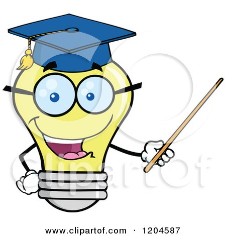 Cartoon of a Happy Yellow Light Bulb Mascot Professor Using a Pointer Stick 2 - Royalty Free Vector Clipart by Hit Toon