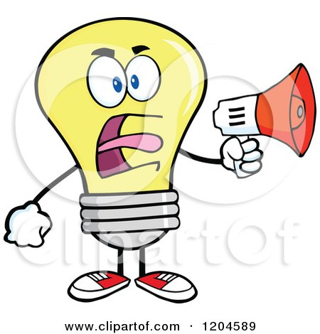 Cartoon of a Yellow Light Bulb Mascot Announcing with a Megaphone - Royalty Free Vector Clipart by Hit Toon