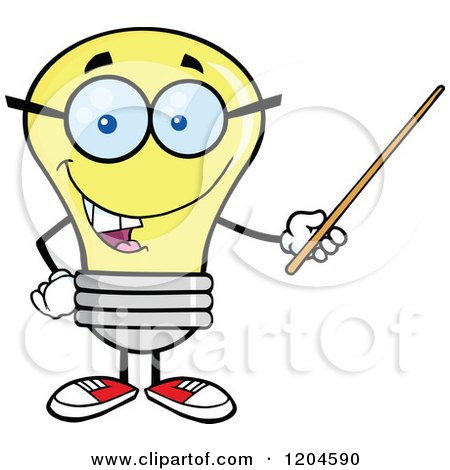Cartoon of a Happy Yellow Light Bulb Mascot Teacher Using a Pointer Stick - Royalty Free Vector Clipart by Hit Toon