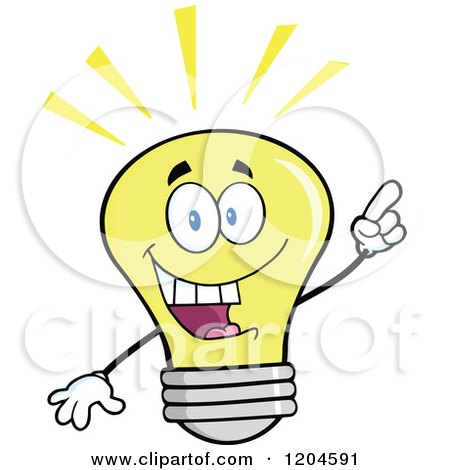 Cartoon of a Happy Yellow Light Bulb Mascot with an Idea - Royalty Free Vector Clipart by Hit Toon