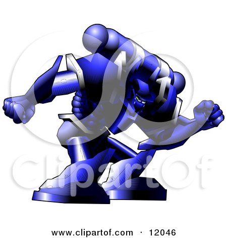 Robotic Space Soldier Man In An Armoured Uniform Clipart Illustration