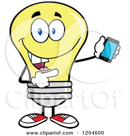 Cartoon of a Happy Yellow Light Bulb Mascot Pointing to a Tablet Computer - Royalty Free Vector Clipart by Hit Toon